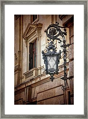 Old Style Street Lamp In Valencia Spain  Framed Print