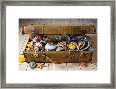 Old Suitcase Full Of Sea Shells Framed Print