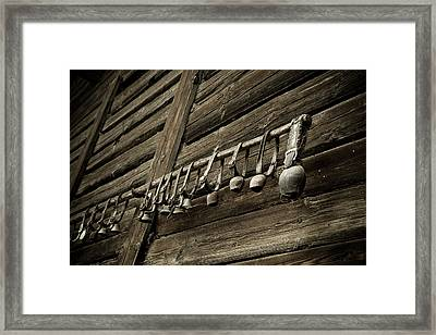 Old Swiss Cowbells Framed Print by Frank Tschakert