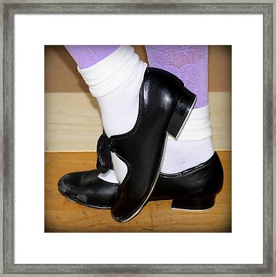 Old Tap Dance Shoes With White Socks And Wooden Floor Framed Print