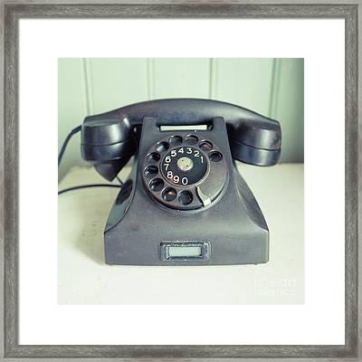 Old Telephone Square Framed Print
