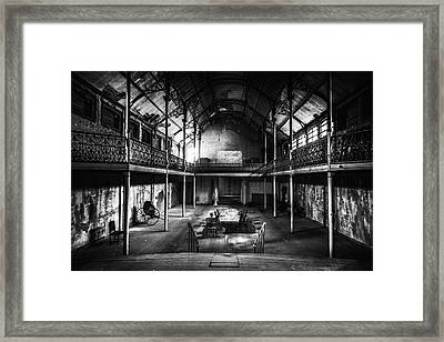 old theatre in decay - urban exploration BW Framed Print