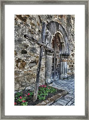 Old Timber Cross And Door Framed Print