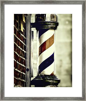 Old Time Barber Pole Framed Print