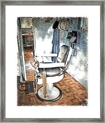 Old Time Barber Shop Sketch 2 Framed Print