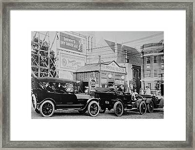 Old Time Fuel Station Framed Print by Frozen in Time Fine Art Photography