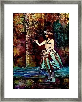 Framed Print featuring the painting Old Time Hula Dancer by Marionette Taboniar