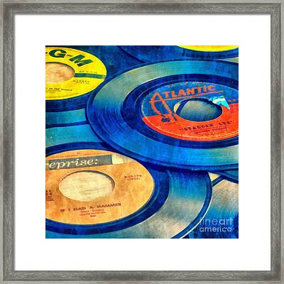 Old Time Rock And Roll 45s Vinyl Framed Print by Edward Fielding