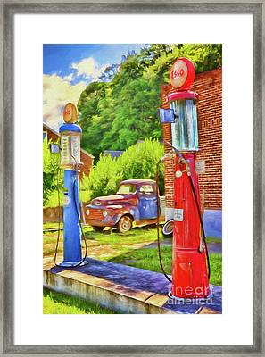 Framed Print featuring the painting Old Time Vintage Gas Pumps Ap by Dan Carmichael