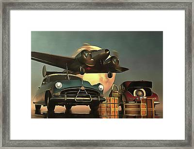 Old-timers With Airplane Framed Print