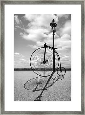 Old Times - Penny Farthing With Street Lamp And Shadows Framed Print