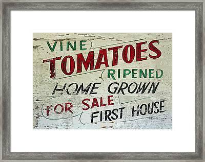 Old Tomato Sign - Vine Ripened Tomatoes Framed Print