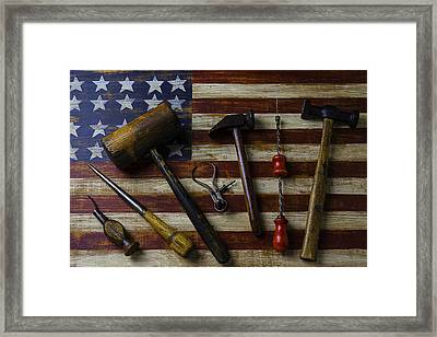 Old Tools On Wooden Flag Framed Print
