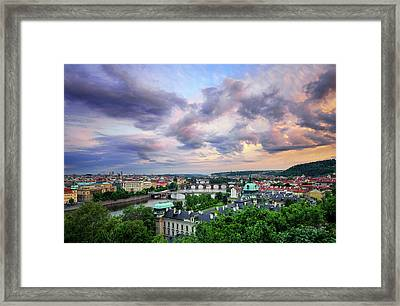Old Town And Charles Bridge, Prague, Czech Republic Framed Print