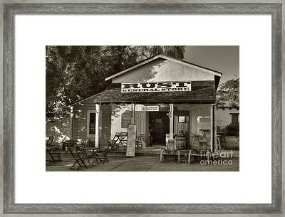 Old Town General Store Sepia Tone Framed Print