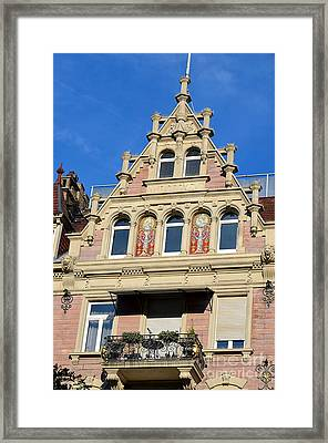 Old Town House Facade In Baden-baden Framed Print by Elzbieta Fazel