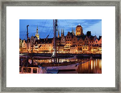 Old Town Of Gdansk At Twilight Framed Print by Artur Bogacki