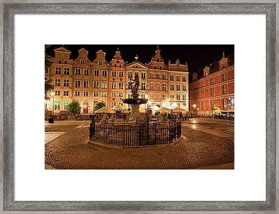 Old Town Of Gdansk By Night In Poland Framed Print