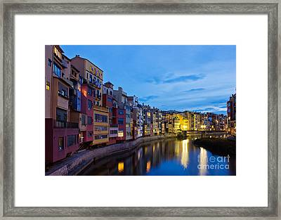 Old Town Of Girona At Night Framed Print