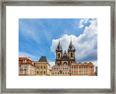 Old Town Of Prague Buildings, Czech Republic. Tyn Church With Historic Tenement Houses Framed Print by Michal Bednarek
