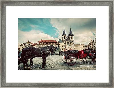 Old Town Of Prague, Czech Republic. Horse Carriage For Tourists. Tyn Church, Vintage Framed Print by Michal Bednarek