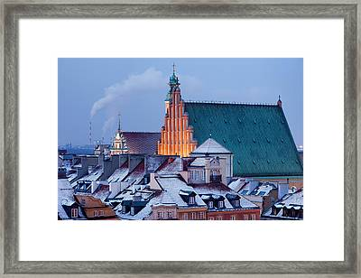 Old Town Of Warsaw Snowy Roofs In Winter Framed Print
