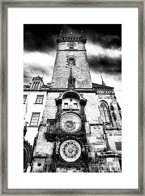 Old Town Square Clock Tower Framed Print by John Rizzuto