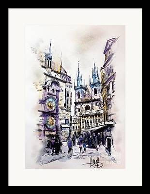 Town Square Mixed Media Framed Prints