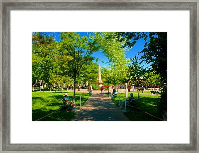 Old Town Square Santa Fe Framed Print by David Lee Thompson
