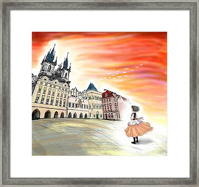 Old Town Square Framed Print by Yuehan