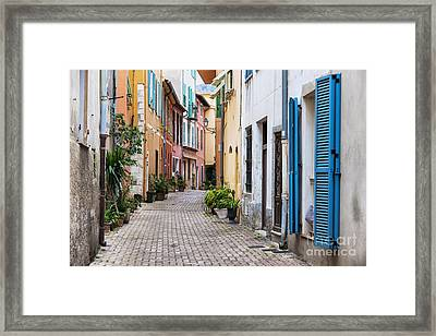 Old Town Street In Villefranche-sur-mer Framed Print by Elena Elisseeva