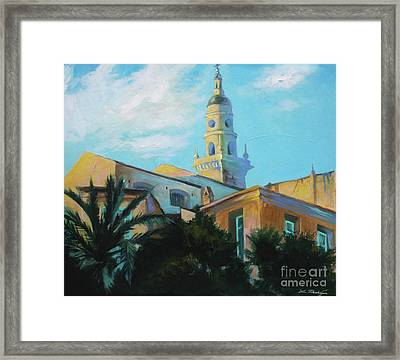 Old Town Tower In Menton Framed Print by Lin Petershagen