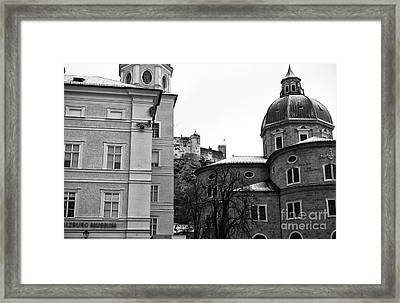 Old Town Windows In Salzburg Framed Print by John Rizzuto