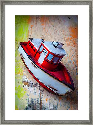 Old Toy Boat Framed Print by Garry Gay