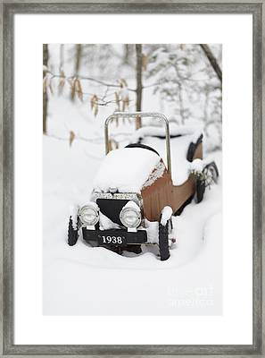 Old Toy Car In The Snow Framed Print