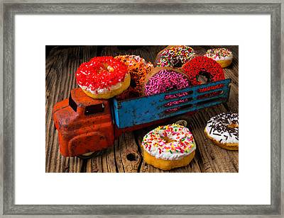 Old Toy Truck And Donuts Framed Print