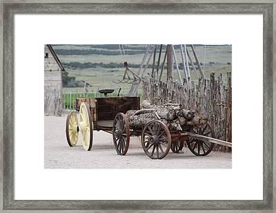Old Tractor And Wagon In Foreground Cove Creek Fort Photography By Colleen Framed Print