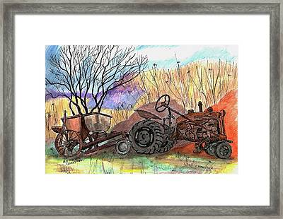 Old Tractor Danvers Ma Framed Print