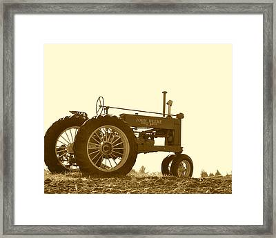 Old Tractor IIi In Sepia Framed Print by JD Grimes