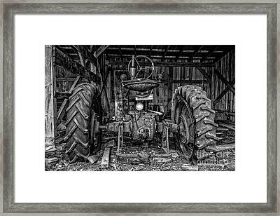 Old Tractor In The Barn Black And White Framed Print