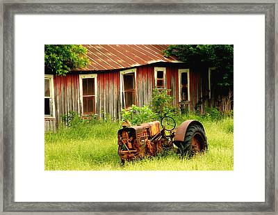Old Tractor Framed Print by Iris Greenwell