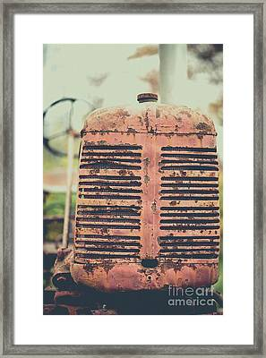 Framed Print featuring the photograph Old Tractor Vintage Look by Edward Fielding