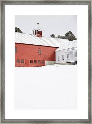 Old Traditional New England Farm In Winter Framed Print