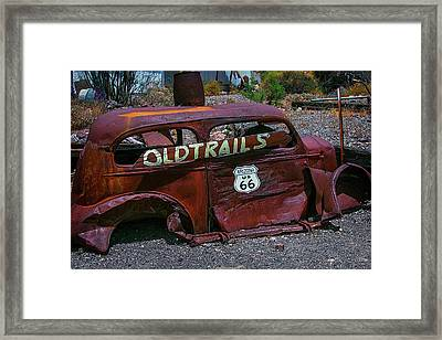 Old Trails Rusty Car Route 66 Framed Print by Garry Gay