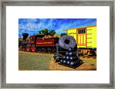Old Train And Canon Mortar On Flat Car Framed Print