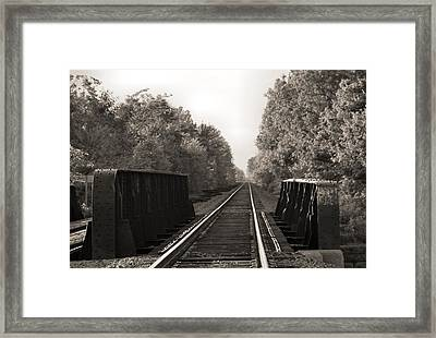 Old Train Tracks On Bridge Framed Print by Dan Sproul
