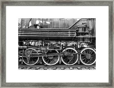 Old Train Wheels In Black And White Framed Print by Garry Gay