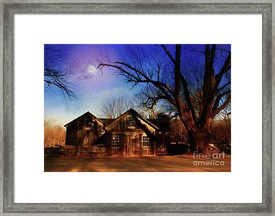 Old Trees And The Barn Framed Print by Linda Troski