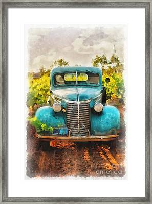 Old Truck At The Winery Framed Print by Edward Fielding