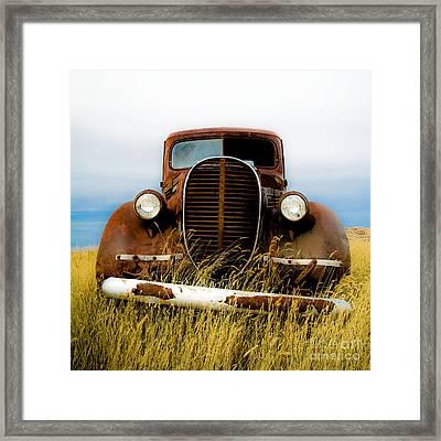 Old Truck In Field Framed Print by Emilio Lovisa